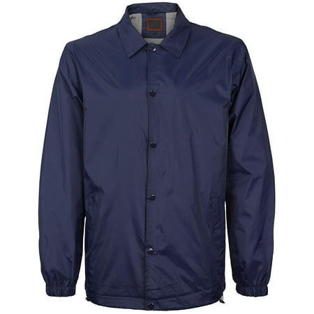 Men's Lightweight Water Resistant Button Up Nylon Windbreaker Coach Jacket (Navy, 4XL)