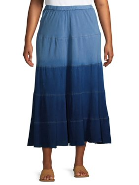 Studio West Women's Plus Size Tiered Denim Skirt