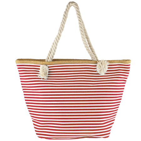 Lux Accessories Women's Small Red and White Stripe Tote Beach Bag ()