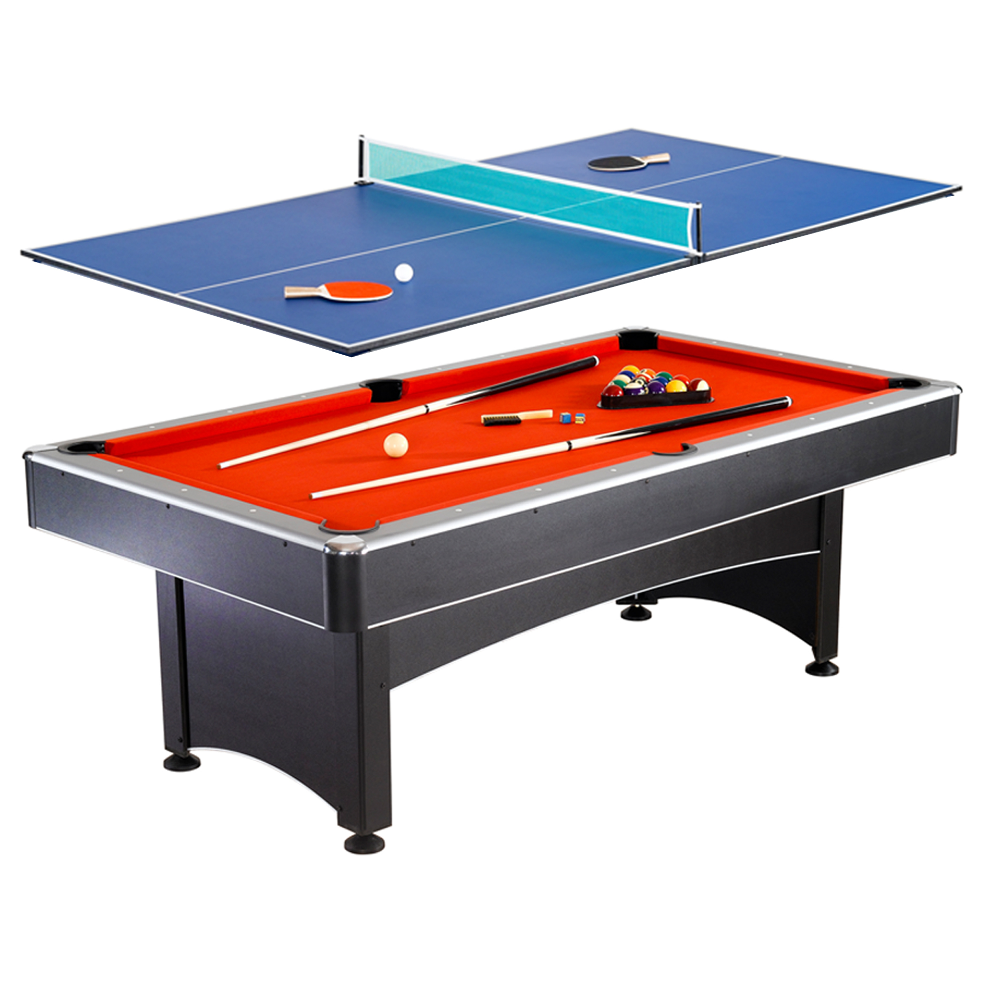 Wonderful Maverick 7 Foot Pool And Table Tennis Multi Game With Red Felt And Blue  Table