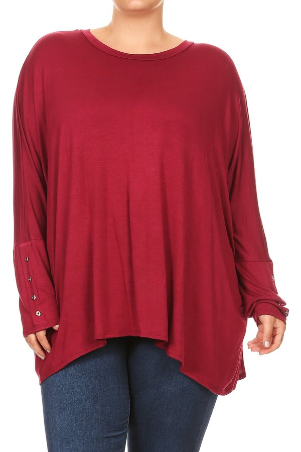 Plus Size Women's Trendy Style Long Sleeves Solid Tunic Top