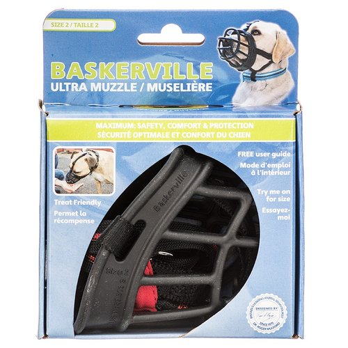 "Baskerville Ultra Muzzle for Dogs Size 2 - Dogs 12-25 lbs - (Nose Circumference 10.5"")"
