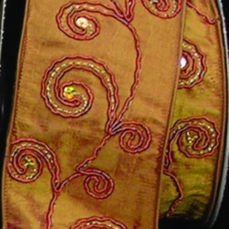 Metallic Amber Colored Swirls Sateen Silk Wired Craft Ribbon 2.5