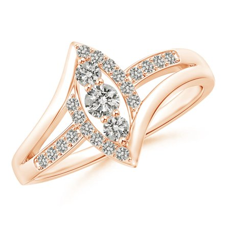 April Birthstone Ring - Vertically-Set Three Stone Diamond Split Bypass Promise Ring in 14K Rose Gold (3mm Diamond) - SR1583D-RG-KI3-3-6.5