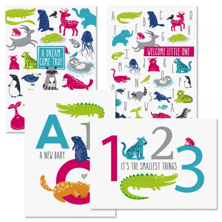 Animal Alphabet Baby Cards - Set of 8 (1 design), Large 5