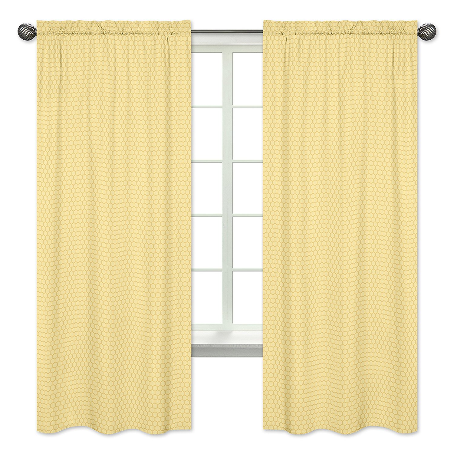 Yellow Honeycomb Window Treatment Panels for Honey Bee Collection Set of 2 by