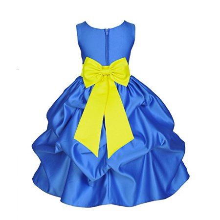 Ekidsbridal Royal Blue Satin Pick Up Flower Girl Dress Junior Toddler Formal Special Occasions Dresses Wedding Pageant Recital Reception Birthday