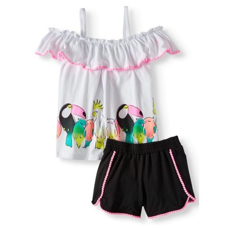 Cold Shoulder Toucan Top and Tulip Short, 2-Piece Outfit Set (Little Girls)](Short Girl Outfits)