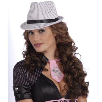 LADIES WHITE PIN STRIPE FEDORA (White Fedoras)