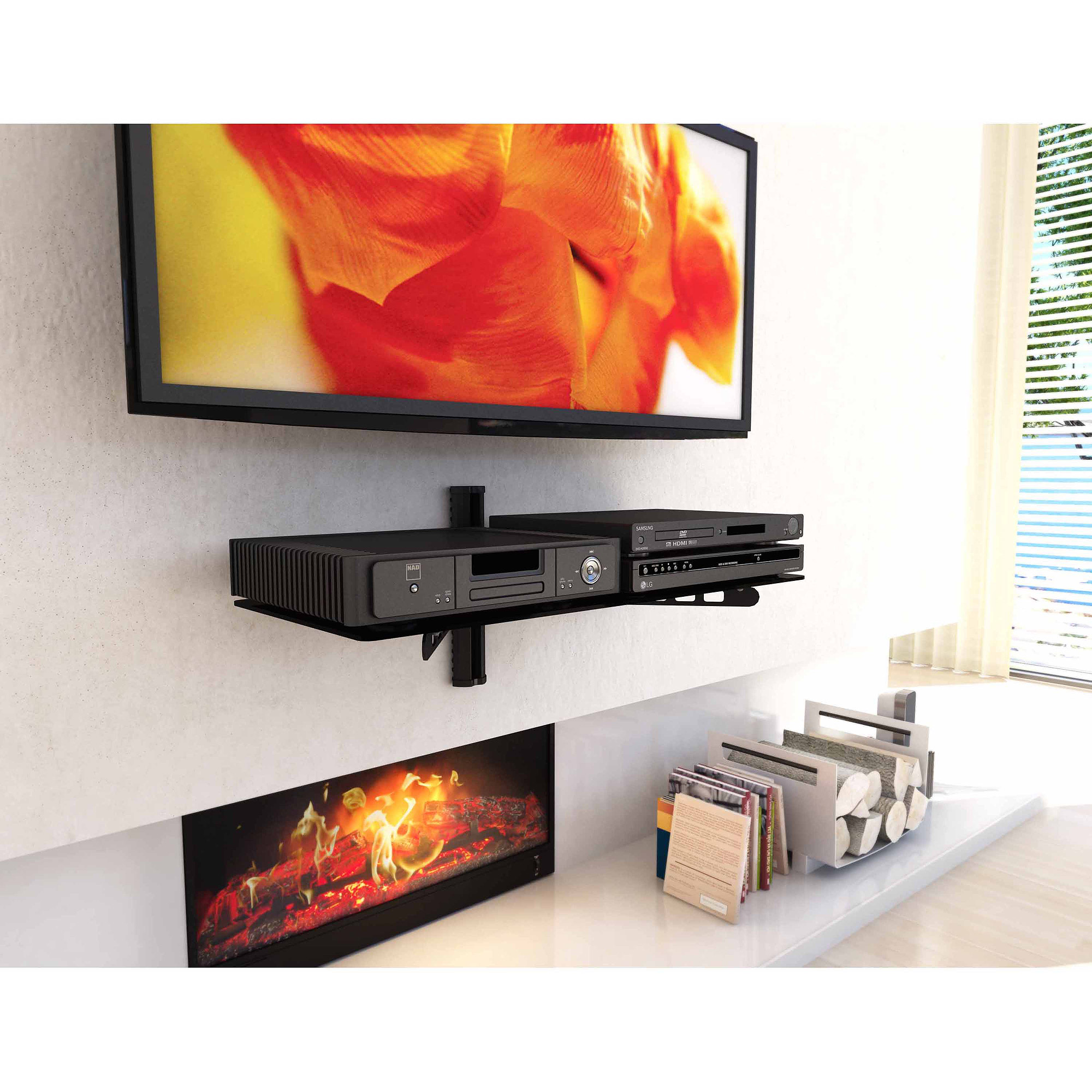 "Sonax C-813-SCM 35"" Wide White Component Wall Shelf"