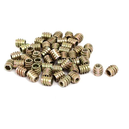 M4x8mm Hex Socket Threaded Insert Nuts Bronze Tone 50pcs for Wood (Pop Nut Threaded Inserts)