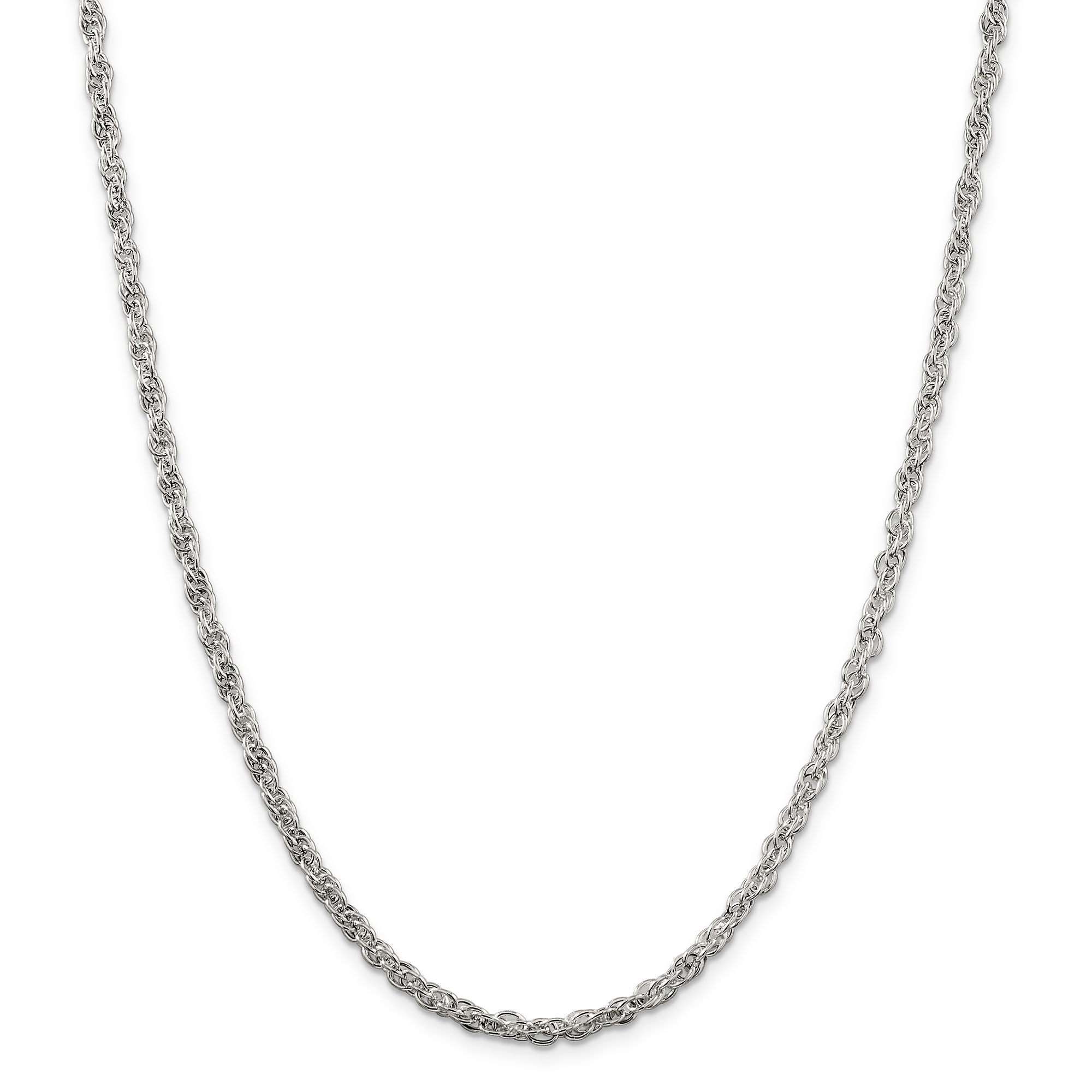 925 Sterling Silver 4mm Hollow Loose Rope Chain 24 Inch - image 5 de 5