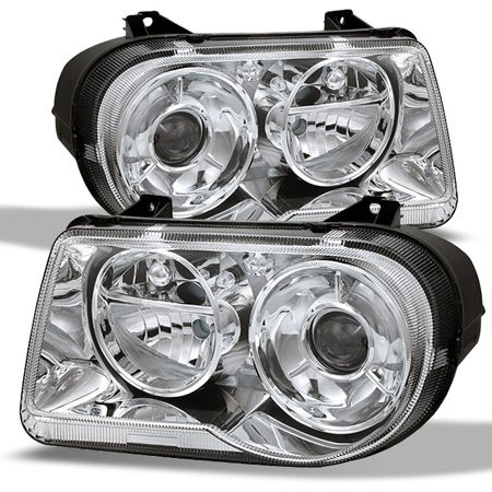 300c Halo Led Projector Headlights - Fits 05-10 Chrysler 300C Replacement Projector Headlights 4805863Ah 4805862Ah
