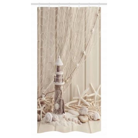 Fishing Net Stall Shower Curtain Marine Theme With Sea Stars And Shells Underwater Life Wooden