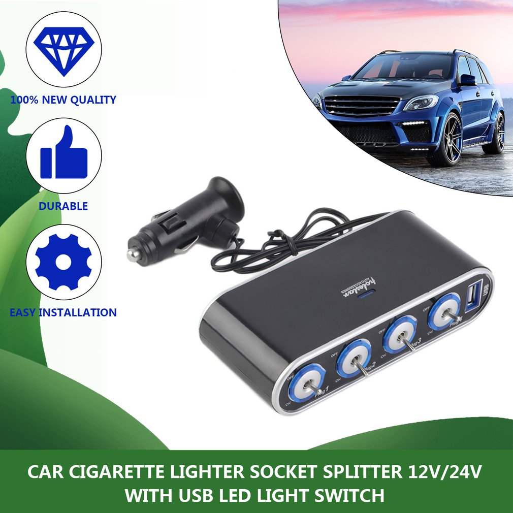 Durable LED Voltage Temp Display Cup Style Car Lighter Splitter USB Fast Charger