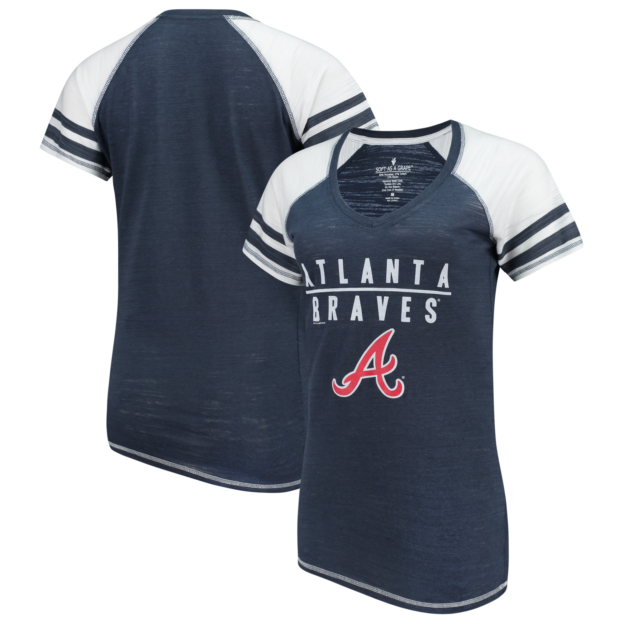 Atlanta Braves Soft as a Grape Women's Color Block V-Neck T-Shirt - Navy