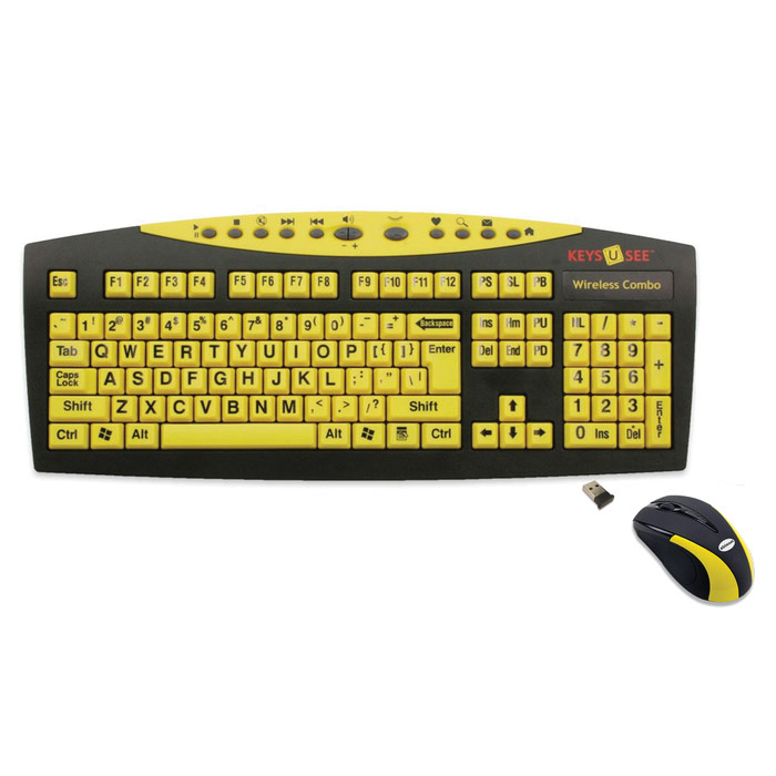Large Print Yellow Wireless Keyboard and Mouse Combo