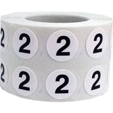 White circle with black number 2 stickers 1 2 inch round 1000 labels on a roll