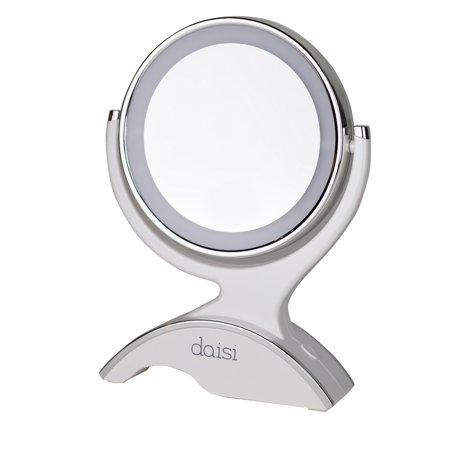 daisi Magnifying Lighted Makeup Tabletop Mirror with 360? Rotation | Standard 1X & 7X Magnification, LED Lighted Free Standing Double-Sided Bathroom Mirror for Vanity or