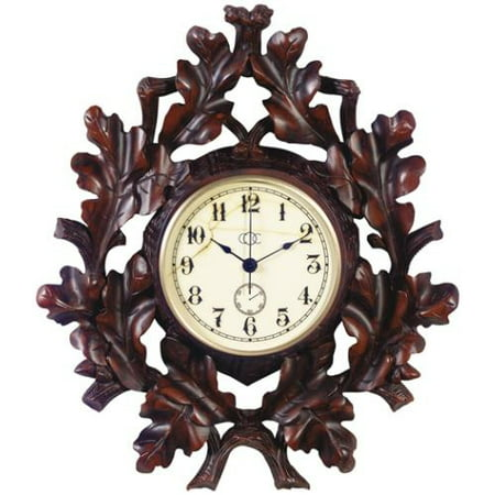 Wall Clock MOUNTAIN Rustic Oak Leaf Resin New Battery Not Included Hand-C OK-582 Clock Rustic Oak Case