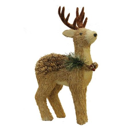 (Northlight Seasonal Sparkling Reindeer Wearing Frosted Wreath Christmas Decoration)