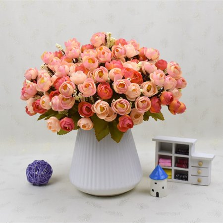 Branch 18-Flower Pretty Simulate Camellia Bouquet Artificial Flower Wedding Home Office Decoration Color:Sunset red - Pretty Wedding Colors