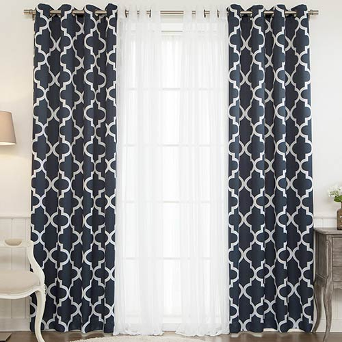 Navy Moroccan 52 x 96 In. Lace Room Darkening Window Treatments, Set of Four