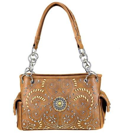 Montana West Western Bling Collection Satchel Handbag And Flashlight Keychain Bundle