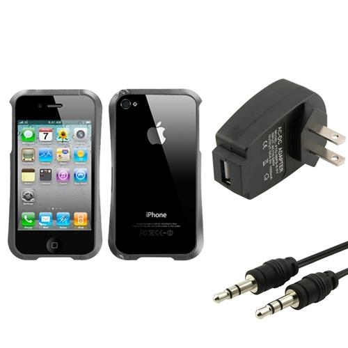 Insten Wall Charger+Audio Cable+Gray Nitro Shield Chrome Metal Case For iPhone 4S/4