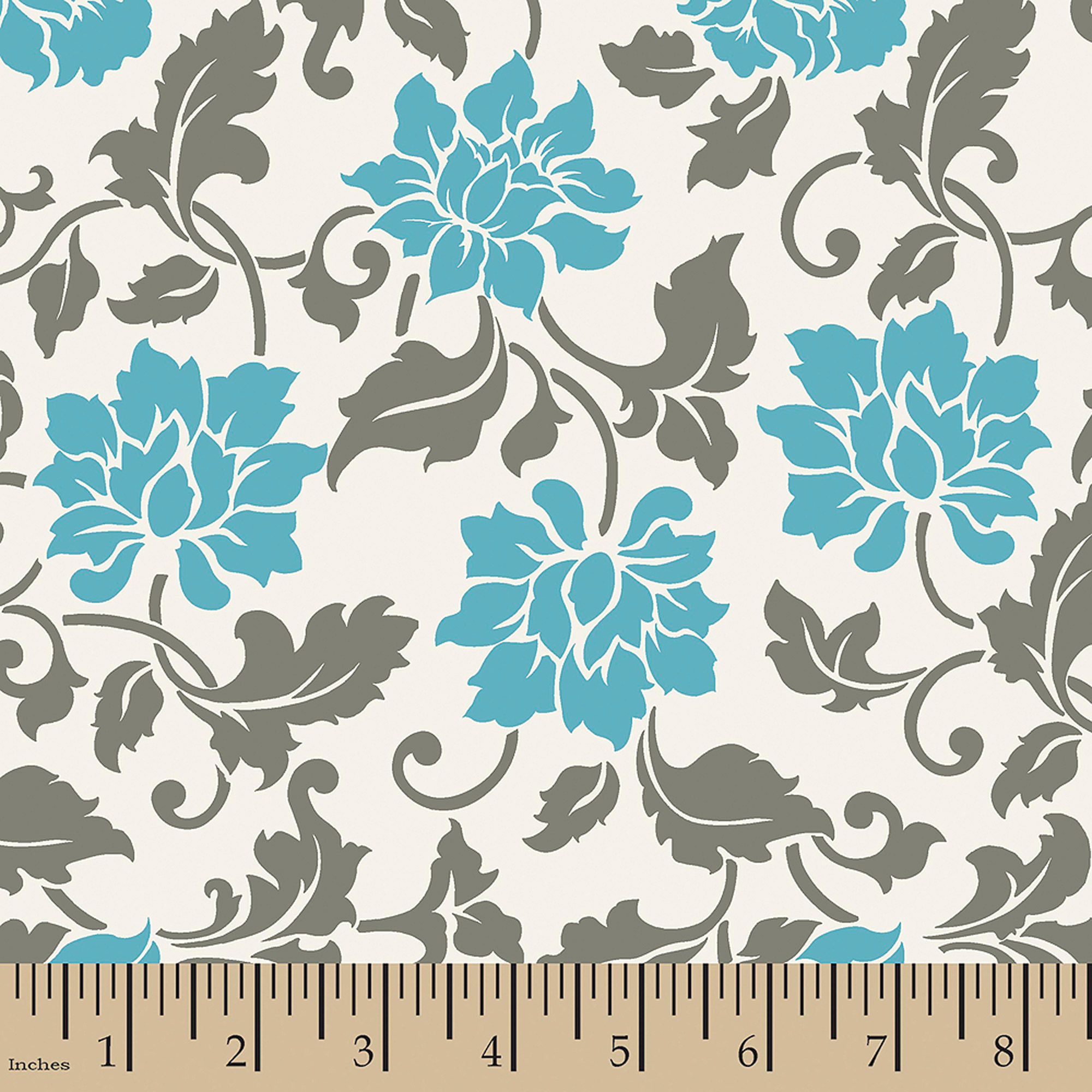 "Valero Floral Vine, Cotton, Cream, 44/45"" Wide, Fabric By The Yard"