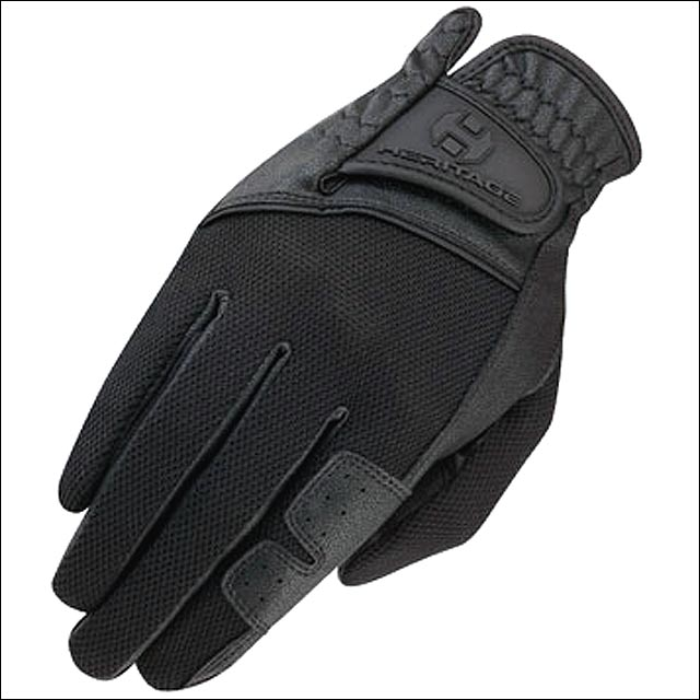 06 SIZE HERITAGE X-COUNTRY GLOVE HORSE RIDING LEATHER STRETCHABLE BLACK by Heritage
