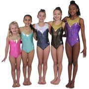 Finesse in Pink and Gold Gymnastics or Dance Leotard (Child Extra Small)