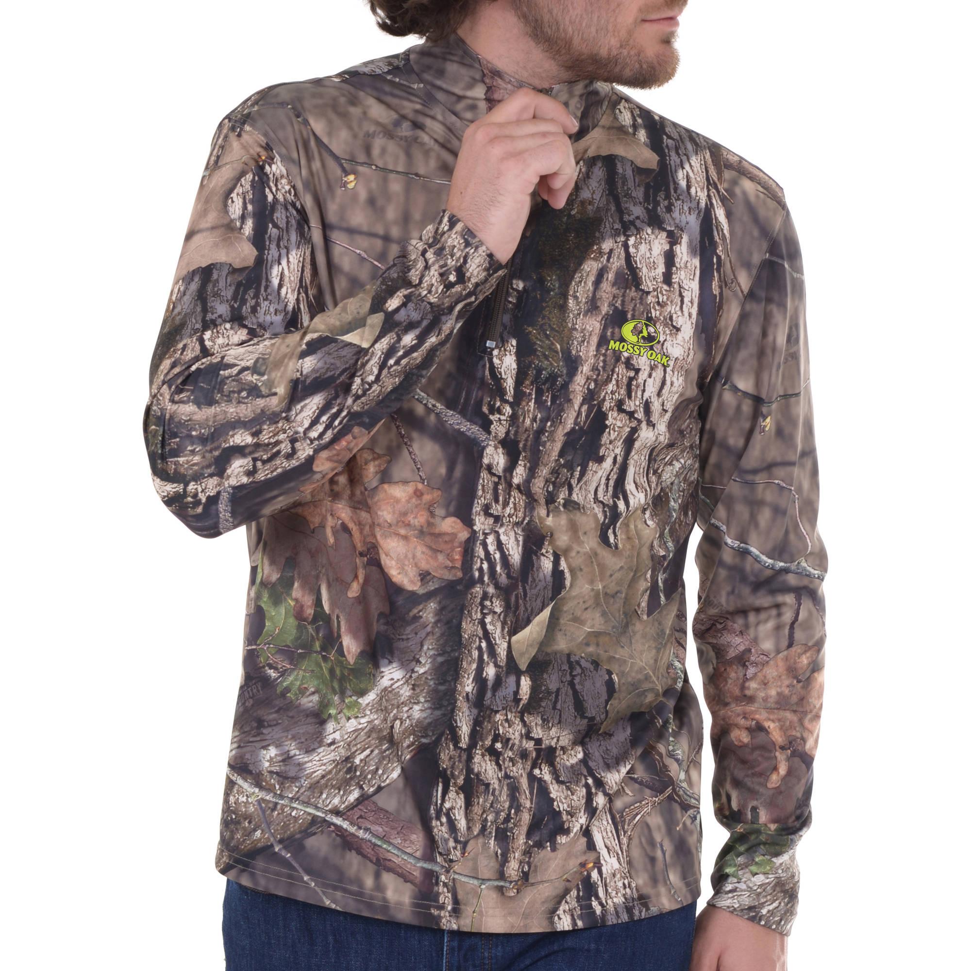 Men's 1/4 Zip Long Sleeve Camo Performance Top - Mossy Oak Country