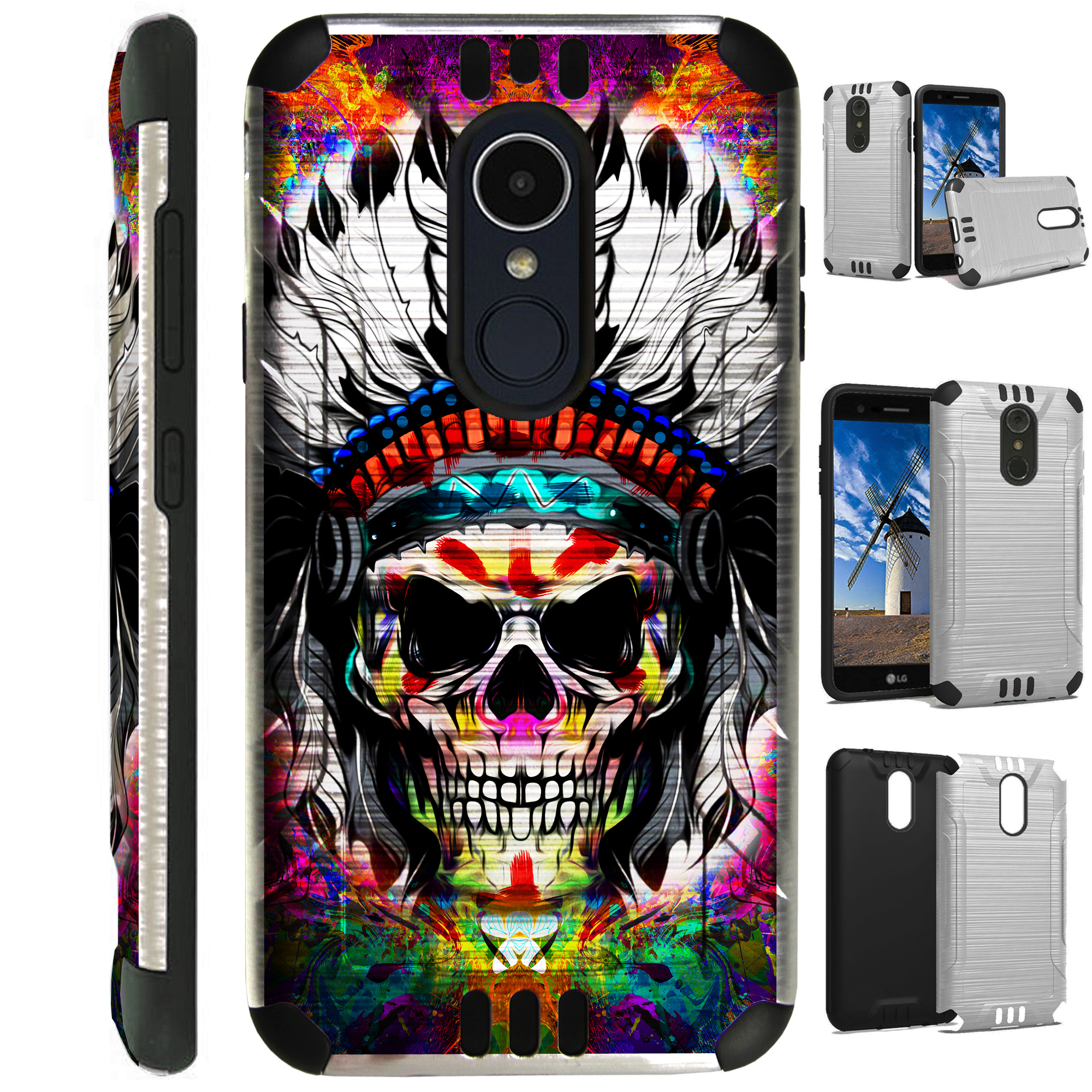 For LG Rebel 3 | LG Rebel 4 Case Brushed Metal Texture Hybrid TPU Silver Guard Phone Cover (Skull Chief FF)