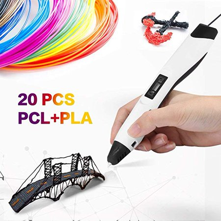 3D Printing Pen Professional for Drawing, Model Printing & Art Design - Art Pen/Crafting Pen with LCD Screen - 3D Craft Pen for Hobbyists, Crafters & Artists White-Pro (Crafters Design)