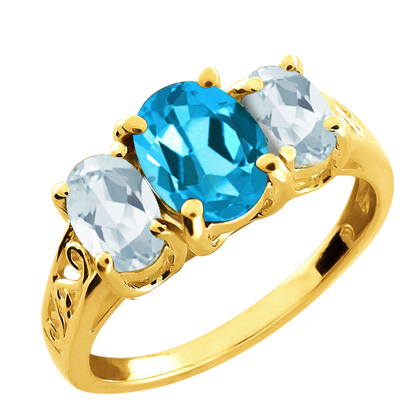 2.36 Ct Oval Swiss Blue Topaz and Aquamarine Gold Plated Silver Ring