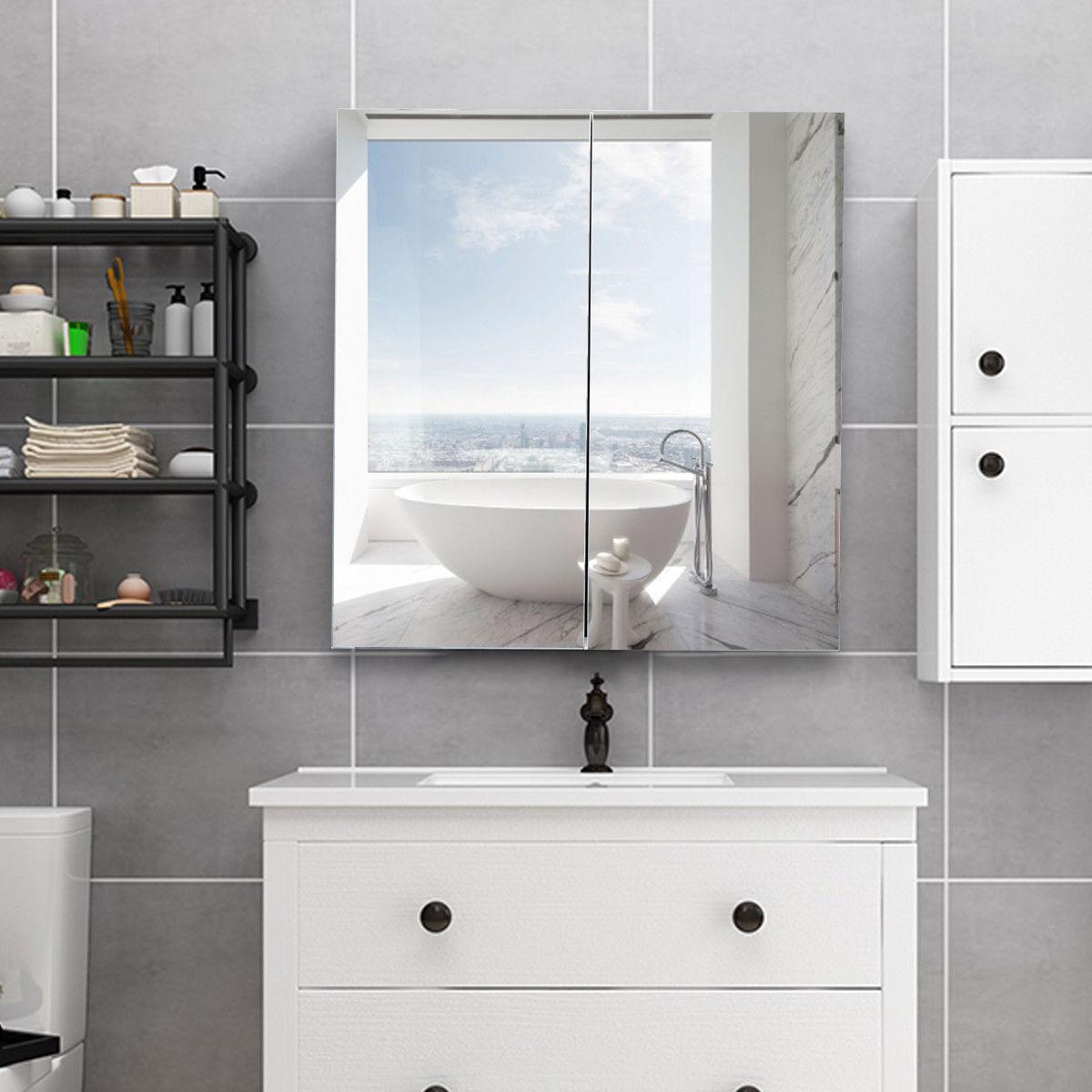 Gymax 24 Wide Wall Mount Mirrored Bathroom Cine Storage Cabinet 2 Mirror Door New