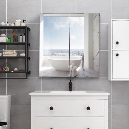Gymax 24 Wide Wall Mount Mirrored Bathroom Medicine Storage Cabinet 2 Mirror Door New