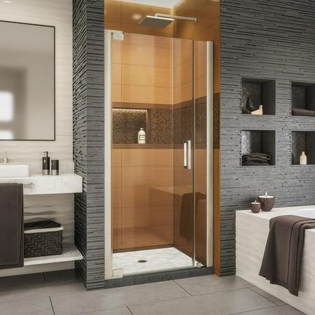 DreamLine Elegance-LS 38 - 40 in. W x 72 in. H Frameless Pivot Shower Door in Brushed Nickel