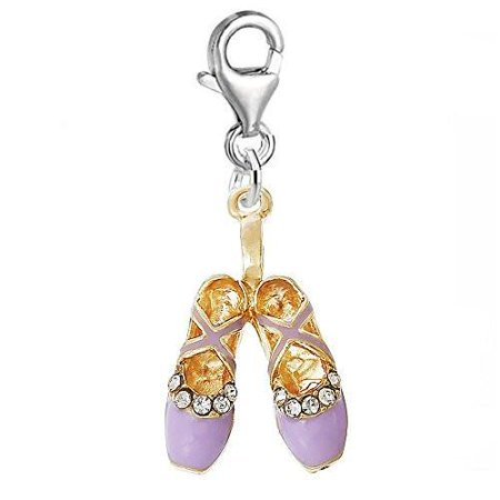 Mauve Ballerina Ballet Shoes Clip on Pendant for European Charm Jewelry with Lobster Clasp