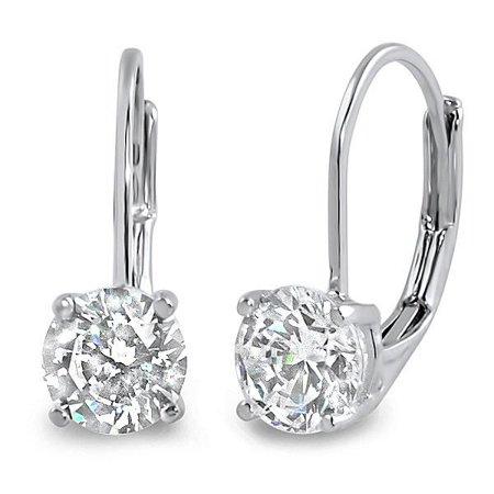 0.30 CTW IGI USA Certified Round White Diamond Leverback Earrings in 14K White Gold