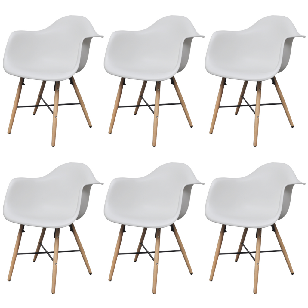 6 White Dining Chairs With Armrests And Beech Wood Legs