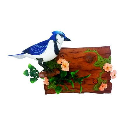 Motion Sensor Dancing Chirping Bird - Blue Jay (Horizontal)