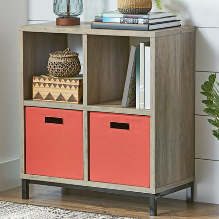 Base Camp Storage - Better Homes and Gardens Square 4-Cube Storage Organizer with Metal Base, Multiple Finishes