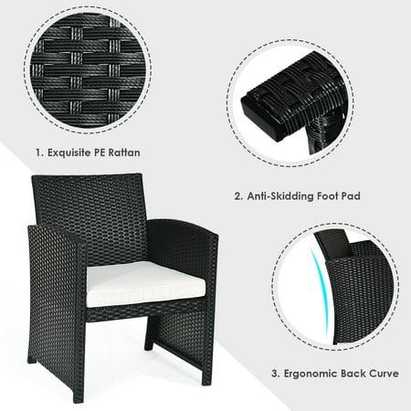 Costway 4PCS Patio Rattan Furniture Conversation Set Cushioned Sofa Table Garden Black - image 5 of 9