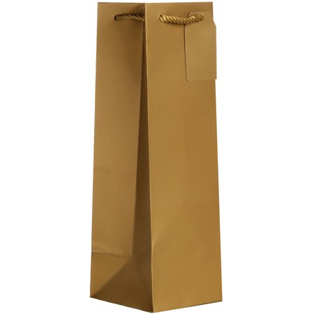 Jillson & Roberts Bottle Gift Bags, Solid Matte Metallic Gold (60 Pcs) - Metallic Gold Gift Bags