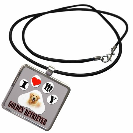 3dRose I love my Golden Retriever. Best friend. - Necklace with Pendant