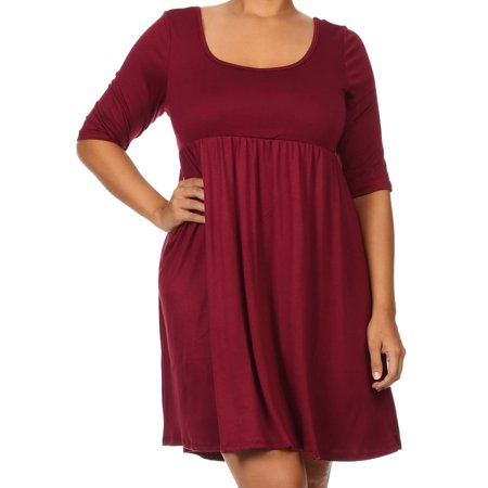 Women Plus Size Half Sleeve Solid Babydoll Casual Tunic Top Dress