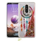 LG Stylo 5 Phone Case BLING Hybrid Luxury Floating Liquid Glitter Shiny Waterfall Quicksand Sparkling Rubber Silicone Gel TPU Hard Protective Dreamcatcher Cover Cellphone Case for LG Stylo 5