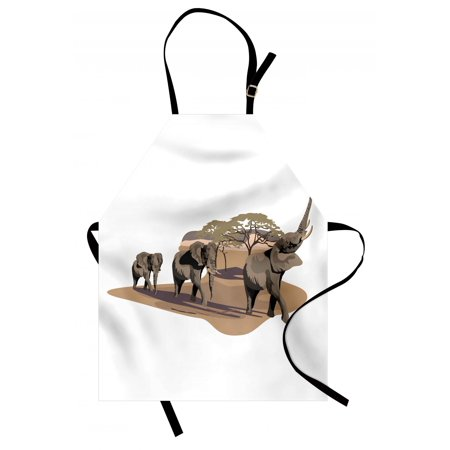 Elephant Apron African Elephants on Savannah Graphic Image Animals in Habitat Safari Wildlife, Unisex Kitchen Bib Apron with Adjustable Neck for Cooking Baking Gardening, White Brown, by Ambesonne
